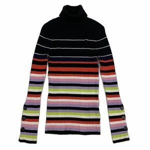 Anthropologie Turtleneck Button Sleeve Sweater M